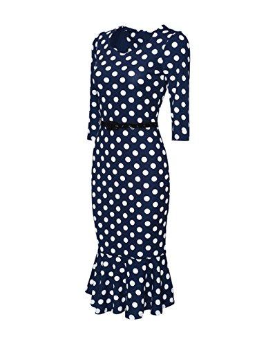 BubbleKiss Women's Vintage 1950s Polka Dot Mermaid Stretchy Tea Party Bodycon Dress