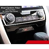 TopDall Carbon Fiber Console Storage Box 3D Sticker Cover Trim For Honda Civic 2016-2019