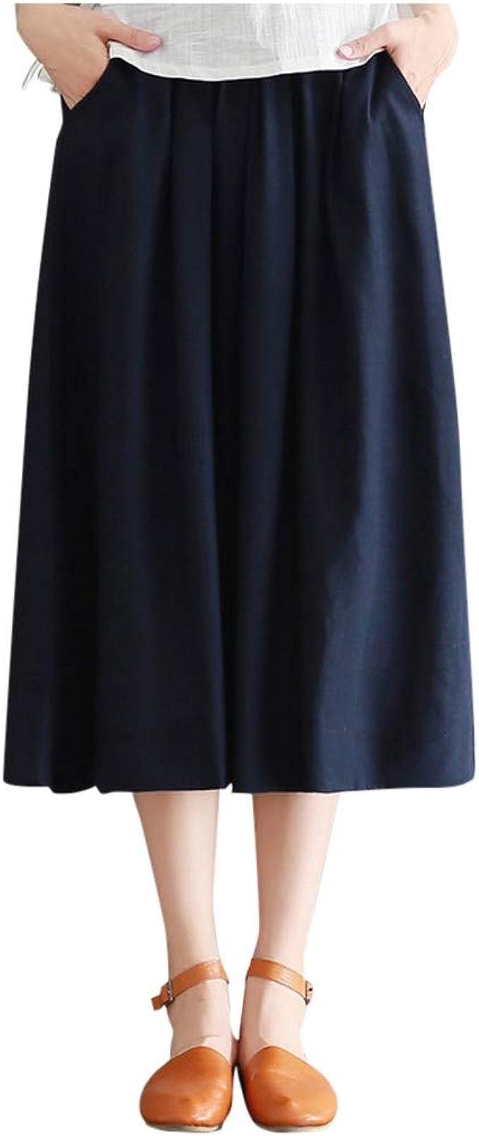 Sylar Falda Larga Mujer Faldas De Fiesta Elegantes Casual Cintura Elástica Faldas De Algodón Y Lino Color Sólido Suelta Faldas Mujer Verano Talla única: Amazon.es: Ropa y accesorios