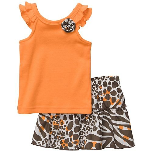 Carter's Girls 2 Piece Skort Set Brown/orange Animal Print (12 months)