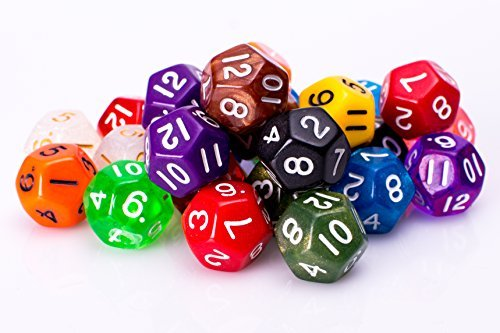 25 Count Assorted Pack of 12 Sided Dice - Multi Colored Assortment of D12 Polyhedral - 12 Dice Side