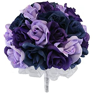 Navy Blue, Lavender and Purple Silk Rose Hand Tie (3 Dozen Roses) - Bridal Wedding Bouquet 32