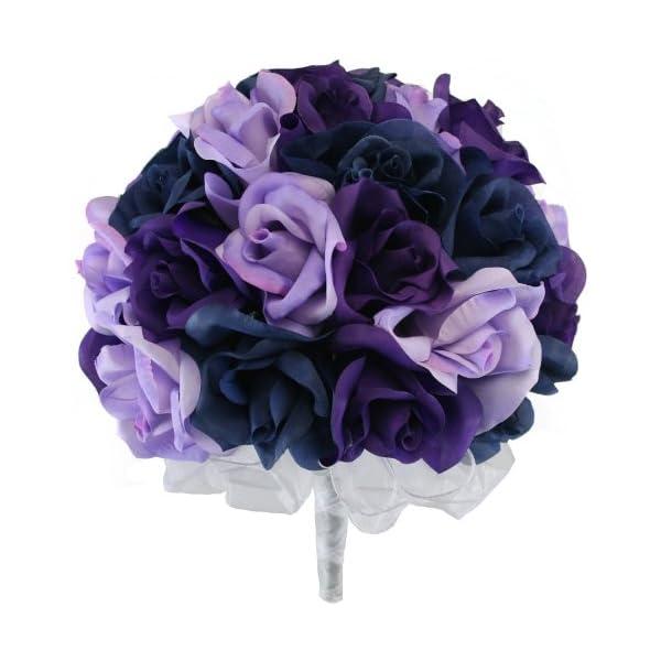 Navy Blue, Lavender and Purple Silk Rose Hand Tie (3 Dozen Roses) – Bridal Wedding Bouquet