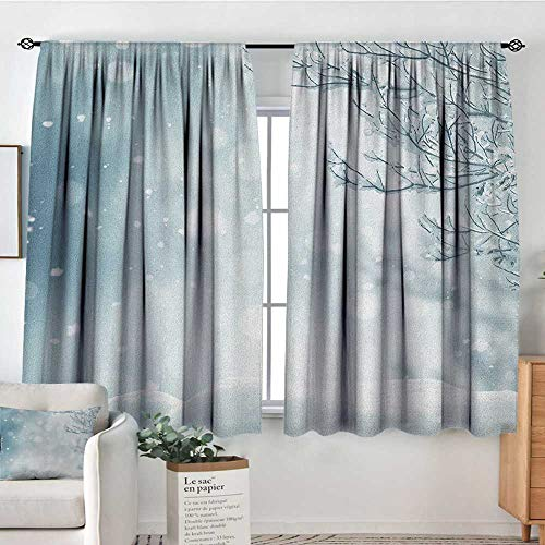 """Blackout Curtains Winter,Christmas Image Snow and Frosted Tree Snowflakes Winter Season Illustration, Slate Blue White,Rod Pocket Drapes Thermal Insulated Panels Home décor 63""""x72"""""""