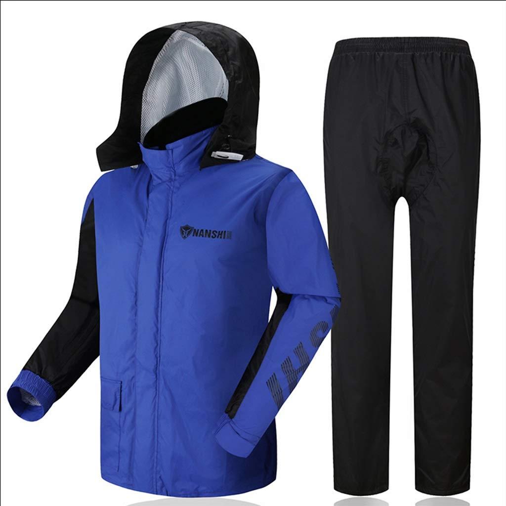 Rainsuit- Raincoat Rain Pants Suit Adult Split Raincoat Motorcycle Riding Raincoat Waterproof Thick Men and Women (Size : L)