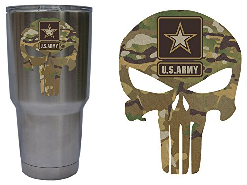 United States US Army Star Punisher Skull Decal Sticker Graphic for YETI 30 oz Rambler Tumbler Cup RTIC Ozark (DECAL ONLY) Matte Permanent Vinyl, Multicam, H 3.5