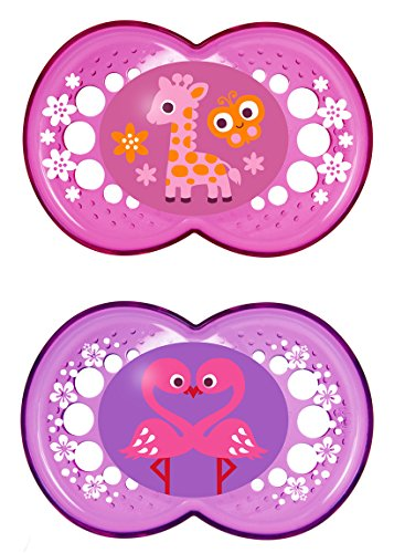 MAM Crystal Orthodontic Pacifier, Girl, 6+ Months, 2-Count