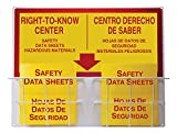Accuform SBZRS335 Right-to-Know Center, 0.063'' Thick Aluminum Board with (2) Coated Wire Basket, (2) 1-1/2'' Safety Data Sheets 3-Ring Binder Included, 24'' Length x 30'' Width, Red/Yellow on White