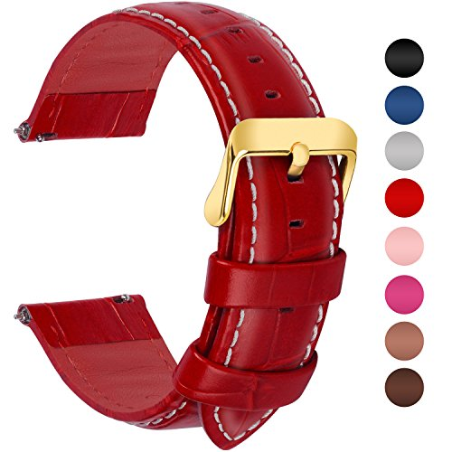 Fullmosa 7 Colors for Quick Release Leather Watch Band, Bamboo Series Genuine Leather Replacement Watch Strap with Stainless Metal Clasp 20mm Red-GD