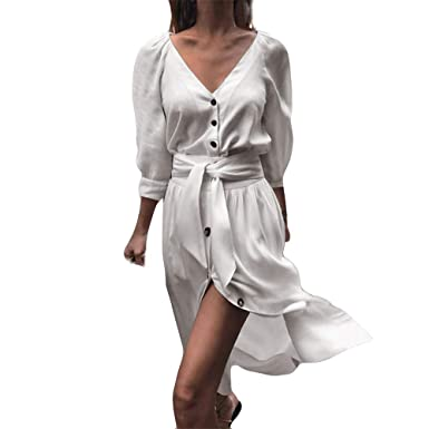❤ Modaworld 2018 Moda Mini Vestido de Fiesta Casual de Noche de Color Puro de botón de Mujer Camisas niña Vestidos Casual Vestidos de cóctel señoras: ...