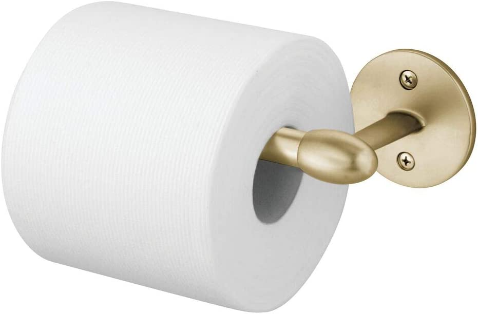 mDesign Modern Metal Toilet Tissue Paper Roll Holder and Dispenser for Bathroom Storage - Wall Mount, Holds and Dispenses One Roll, Mounting Hardware Included - Soft Brass