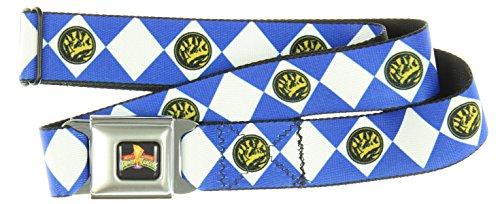 Power Rangers Logo Ranger Diamonds Adult Seatbelt Belt (Blue, XL)