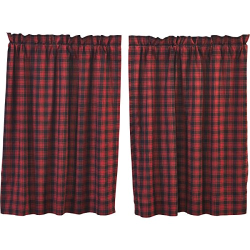 VHC Brands Rustic & Lodge Kitchen Window Curtains - Cumberland Red Tier Pair L36 x W36, Chili ()