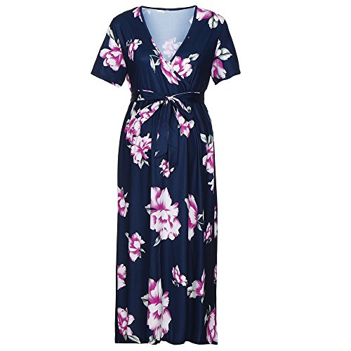 LEXUPA Women's Pregnancy V Collar Print Dress Maternity Short Sleeve Sundress Clothes Navy