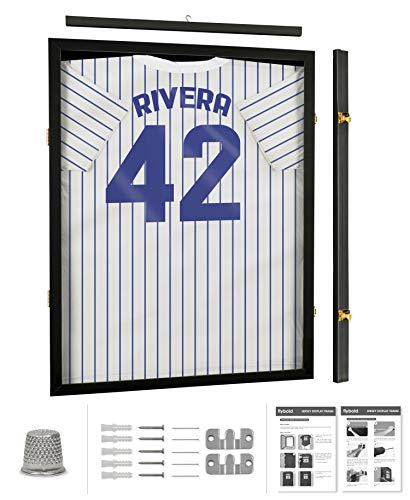 Jersey Display Frame Case Large Frames Shadow Box Lockable with UV Protection Acrylic Hanger and Wall Mount Option for Baseball Basketball Football Soccer Hockey Sport Shirt Black Finish ()