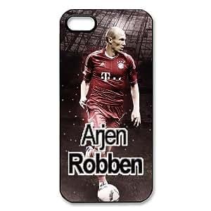 luckhappy123 store Custom FC Bayern Munich Arjen Robben black plastic Case for iphone 5 cover
