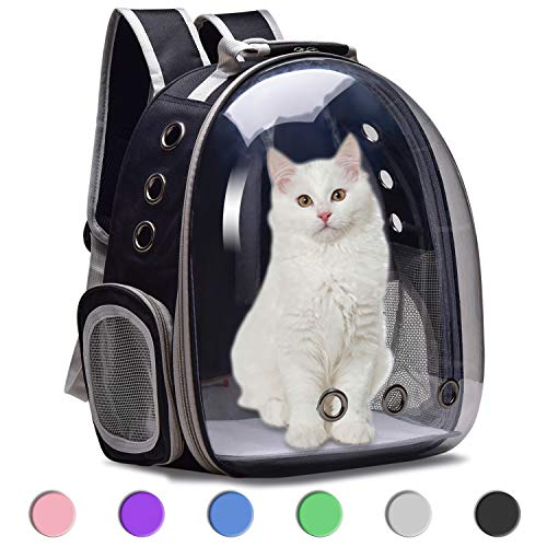 Moyeno Cat Backpack Carrier Bubble Bag, Small Dog Backpack Carrier for Small Dogs, Space Capsule Pet Carrier Dog Hiking Backpack Airline Approved Travel Carrier - Black Grey Pink Blue Purple Green