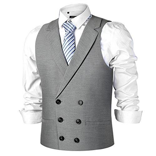 Zicac Mens Slim Fit Tailored Collar Suit Dress Vest Waistcoat Wedding Tuxedo Dress Waistcoat Casual Vest