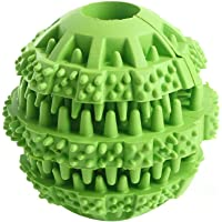 Dog Toy Ball Interactive Dog Treat Toys Durable Natural Rubber Dog Chew Ball for Pet Tooth Cleaning Food Dispensing IQ…