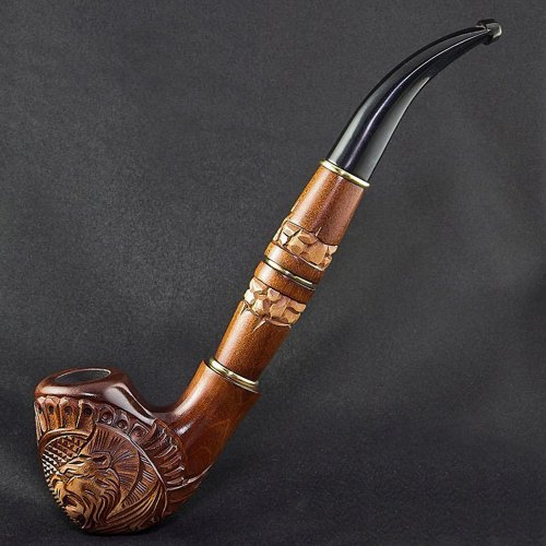 8.27'' 'Lion's mane' Long carved wooden smoking pipe. Best smoking pipes. WORLDWIDE shipping.