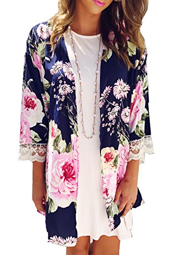 Floral Print Kimono (Relipop Womens Irregular Floral Print Kimono Cardigans Casual Cover up Coat Outwear (X-Large, Blue))