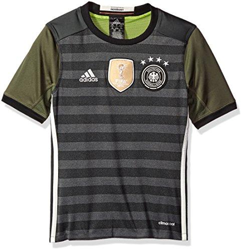 adidas Boys' Soccer Youth Germany Jersey, Dark Grey Heather/Legacy, Medium