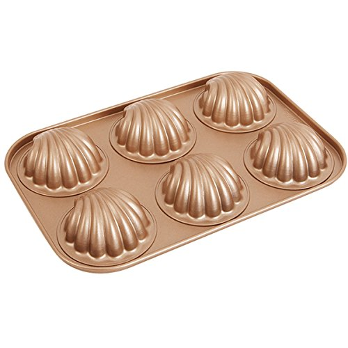 Madeleine Pans, Ezeso 6-Cup Non-stick Carbon Steel Baking Mold Shell Shaped Cake Baking Pan (Madeleine Baking Pans)