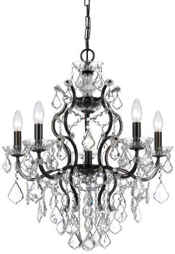 Crystorama 4455-VZ-CL-S Crystal Six Light Chandeliers from Filmore collection in Bronze/Darkfinish,