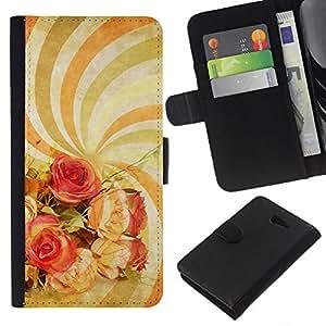 KingStore / Leather Etui en cuir / Sony Xperia M2 / Papel pintado espiral hipnótico Psychedelic Art Flores