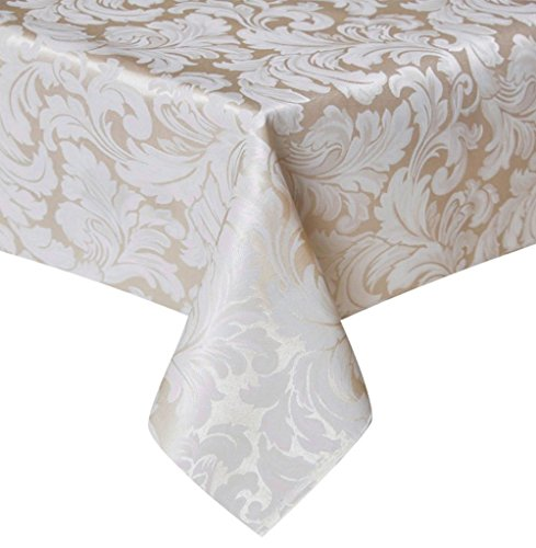 Tektrum Heavy Duty 60 X 84 inch Rectangular Damask Jacquard Tablecloth Table Cover - Waterproof/Spill Proof/Stain Resistant/Wrinkle Free - Great for Banquet, Parties, Dinner, Kitchen, Wedding (Beige) (Microfiber Tablecloth)