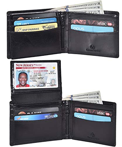 Valenchi - RFID Genuine Leather Bifold Wallet with Flap for Men and Women with multi card slots, 2 Note pocket coin pocket and ID window (Black Italian V.T.)