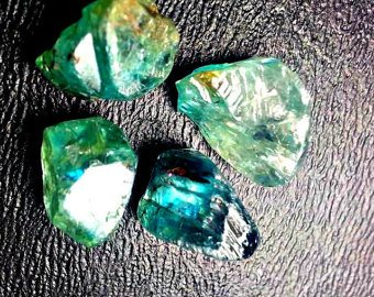 4 Quality Blue Zircon Crystals. High Quality Natural Gemstone Rough, Parcel For Wire Wrapping/ (Zircon Natural)