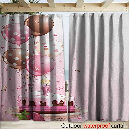 Price comparison product image warmfamily Birthday Waterproof Sliding Door Curtains Strawberry Pink Slice of Cake Candle Dotted Balloons and Confetti Celebration W120 x L108 Pink Tan Cream