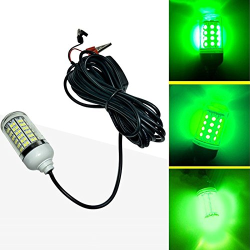 (TOOGOO 12V LED Green Underwater Submersible Night Fishing Light Crappie Shad Squid Boat Fishing Light)
