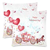 InterestPrint 2 Pack Girl in a Carriage with Valentines Throw Cushion Pillow Case Cover 18x18 Twin Sides, Happy Valentine Day Zippered Pillowcase Set Shams Decorative