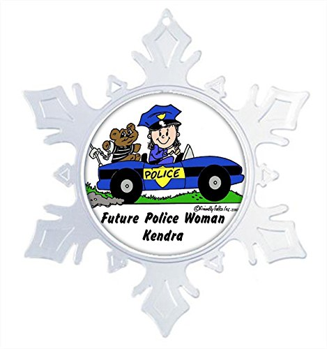 Officer Police Keepsake (Printed Perfection Personalized Future Police- Officer - Female Snow Flake Christmas Ornament Friendly Folks, Gift, Keepsake, Room dÃcor)