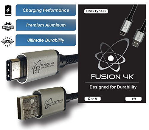 Fusion4K USB Type C to Type A (1 foot) - PROFESSIONAL SERIES - For Galaxy S8, Macbook, Google Chromebook