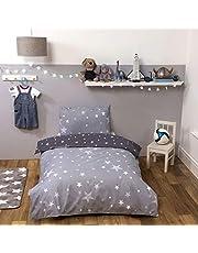Dreamscene Galaxy Stars Dekbedovertrek met kussensloop Kids Omkeerbare houtskool beddengoed set, zilvergrijs, eenpersoons