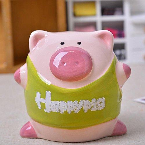 Goodscene Cartoon Piggy Bank Happy Pig Money Bank Handmade Ceramic Decoration Children Gift (Green) by Goodscene