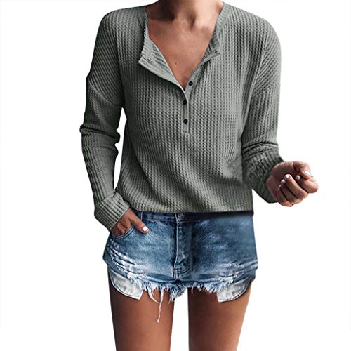 - T-Shirt for Women,Summer Ladies Waffle Knit Tunic Tops Loose Short Sleeve Button Up V Neck Henley Shirts Blouse Tops Army Green