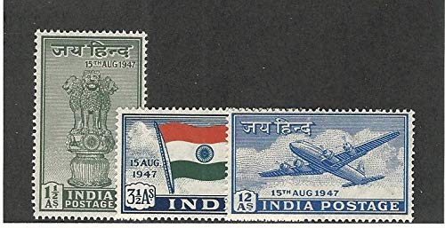 India, Postage Stamp, 200-202 Mint LH, 1947 Flag, Airplane
