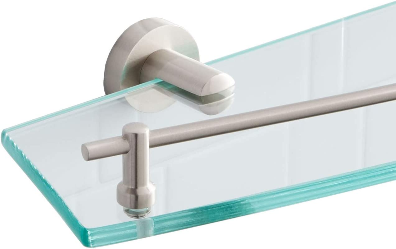 Naiture Collection Tempered Glass Shelf in Brushed Nickel Finish
