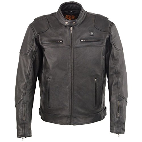 Milwaukee Leather Mens Heated Vented Scooter Jacket with Gun Pocket - 3X-Large