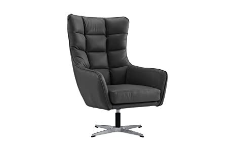 Modern Living Room Bonded Leather Tufted Armchair, Home Office Executive  Swivel Chair (Dark Grey)