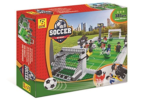 BRICKLAND 381 Piece BRICK-LAND Soccer Game Building Bricks Toy Set with Football Field and 10 Players