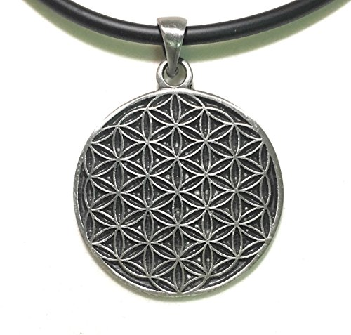 imossy - Classic Flower of Life Hexagon Sacred Pewter Pendant + Black PVC 18 inches 3mm. Necklace Lobster Clap Lock (Beanie Red Maltese Iron Cross)