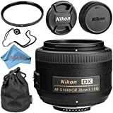 Nikon AF-S DX NIKKOR 35mm f/1.8G Lens + 52mm UV Filter + Fibercloth + Lens Capkeeper Bundle