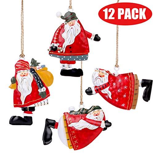 Lot of 12 Pcs Painted Tin Santa Folk Christmas Tree Ornaments,Hanging Christmas Decorations for Xmas Tree/Party/Holiday/Home Decoration