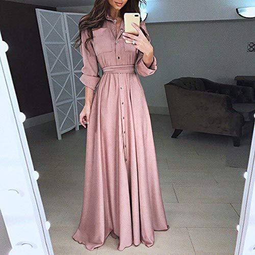 donna irregolare vita Vestito Vestito rosa Party grande Button Dresses Dress da Vestito Amphia qv1wYY
