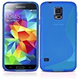GADGET BOXX SAMSUNG GALAXY S5 G900 S-LINE SILICONE GEL IN BLUE COVER CASE AND SCREEN PROTECTOR